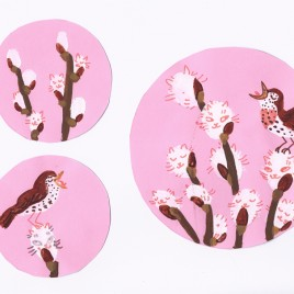 Pussy Willow Plates: Pink