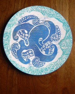 Octopus plate in blue