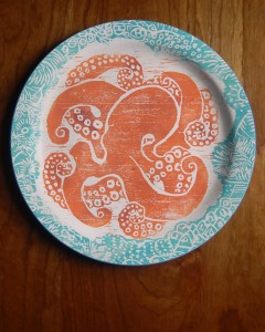Octopus plate in orange