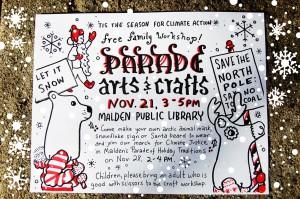Parade Arts and Crafts Workshop Poster: Let It Snow! Santas Against Global Warming