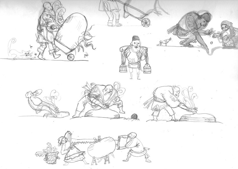Some pose sketches for the Gigantic Turnip
