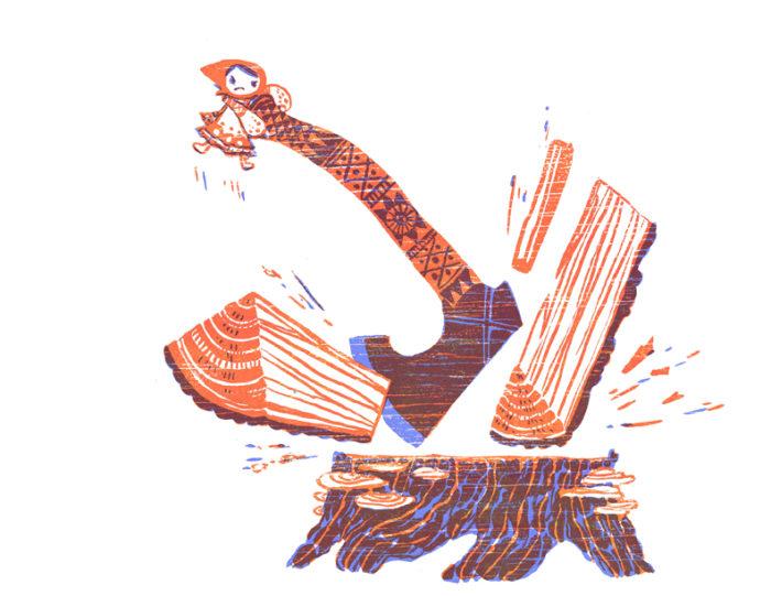 Vasalisa's Dolly splits firewood