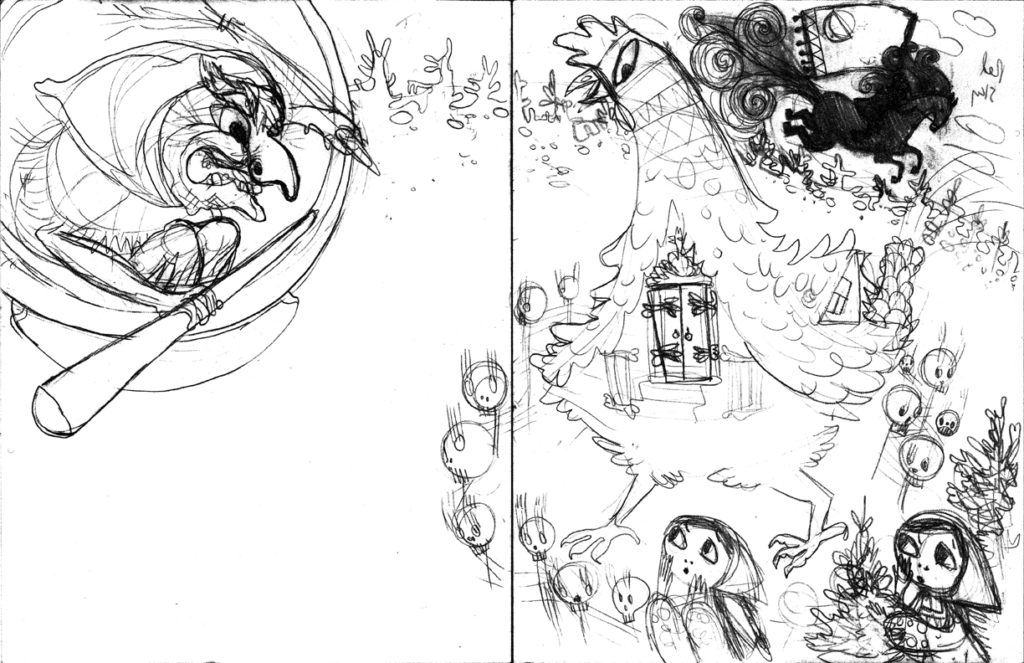 Sketch: Baba Yaga Arrives (#1 but flipped)