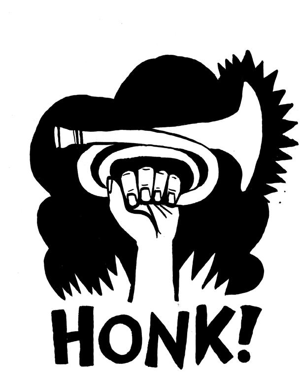 HONK!_fist_b+w 72